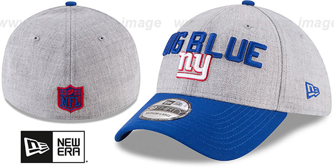 NY Giants '2018 ONSTAGE FLEX' Grey-Royal Hat by New Era : pictured without stickers that these products are shipped with