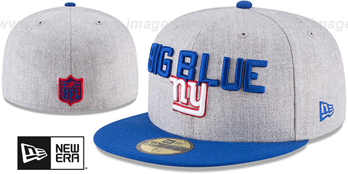 NY Giants '2018 ONSTAGE' Grey-Royal Fitted Hat by New Era : pictured without stickers that these products are shipped with
