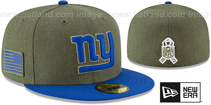 NY Giants '2018 SALUTE-TO-SERVICE' Olive-Royal Fitted Hat by New Era