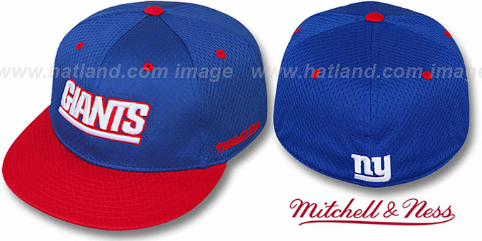 NY Giants '2T BP-MESH' Royal-Red Fitted Hat by Mitchell & Ness : pictured without stickers that these products are shipped with