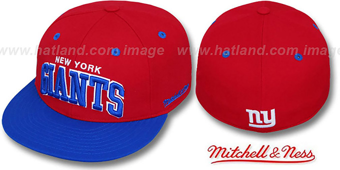 NY Giants '2T CLASSIC-ARCH' Red-Royal Fitted Hat by Mitchell & Ness : pictured without stickers that these products are shipped with