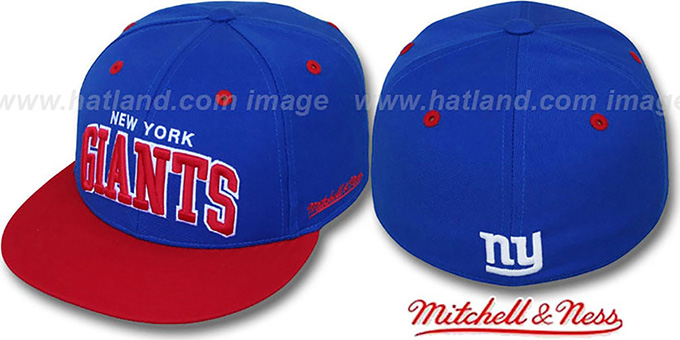 NY Giants '2T CLASSIC-ARCH' Royal-Red Fitted Hat by Mitchell & Ness : pictured without stickers that these products are shipped with