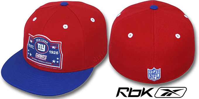 NY Giants '2T ESTABLISHED' Red-Royal Fitted Hat by Reebok : pictured without stickers that these products are shipped with