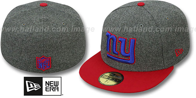 NY Giants '2T NFL MELTON-BASIC' Grey-Red Fitted Hat by New Era : pictured without stickers that these products are shipped with