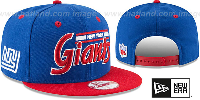 NY Giants '2T RETRO-SCRIPT SNAPBACK' Royal-Red Hat by New Era : pictured without stickers that these products are shipped with