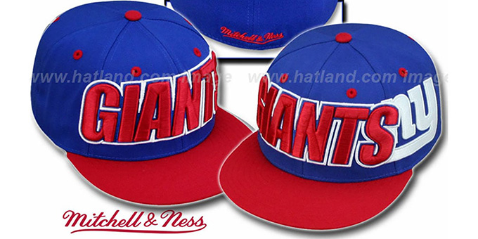 NY Giants '2T WORDMARK' Royal-Red Fitted Hat by Mitchell & Ness : pictured without stickers that these products are shipped with