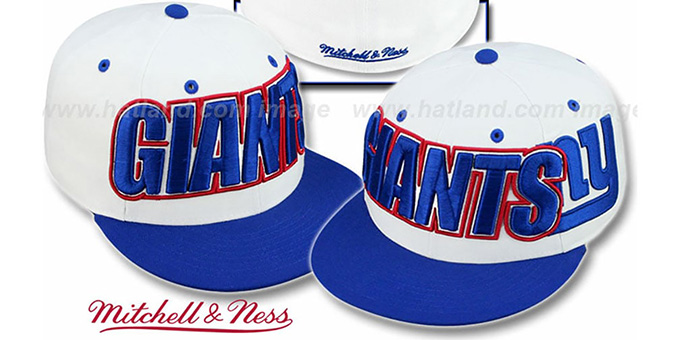 NY Giants '2T WORDMARK' White-Royal Fitted Hat by Mitchell & Ness