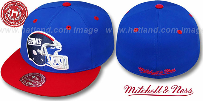 NY Giants '2T XL-HELMET' Royal-Red Fitted Hat by Mitchell & Ness : pictured without stickers that these products are shipped with