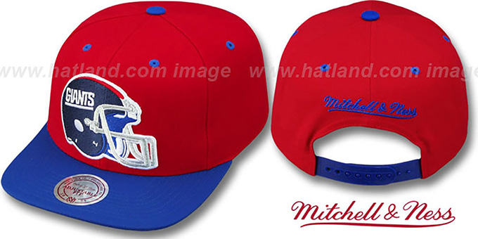 NY Giants '2T XL-HELMET SNAPBACK' Red-Royal Adjustable Hat by Mitchell & Ness : pictured without stickers that these products are shipped with