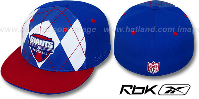 NY Giants 'ARGYLE-SHIELD' Royal-Red Fitted Hat by Reebok : pictured without stickers that these products are shipped with