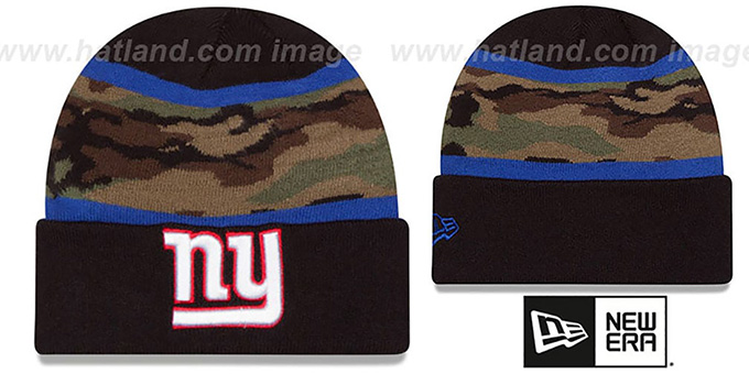 NY Giants 'ARMY CAMO FILLZ' Knit Beanie Hat by New Era : pictured without stickers that these products are shipped with