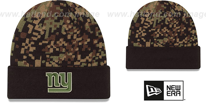 NY Giants 'ARMY CAMO PRINT-PLAY' Knit Beanie Hat by New Era : pictured without stickers that these products are shipped with