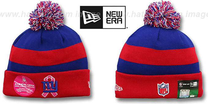 NY Giants 'BCA CRUCIAL CATCH' Knit Beanie Hat by New Era : pictured without stickers that these products are shipped with