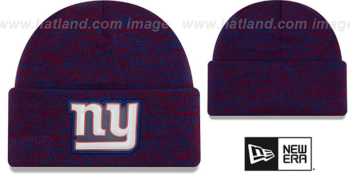 NY Giants 'BEVEL' Royal-Red Knit Beanie Hat by New Era : pictured without stickers that these products are shipped with