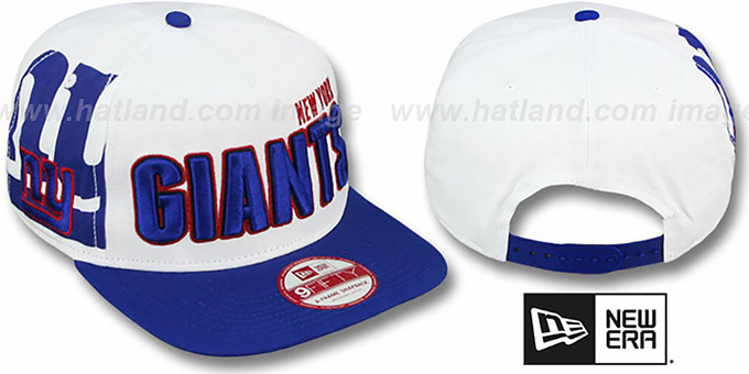 NY Giants 'BIGSIDE A-FRAME SNAPBACK' White-Royal Hat by New Era : pictured without stickers that these products are shipped with