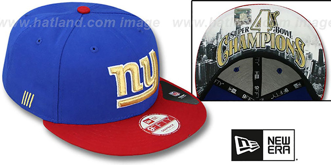 NY Giants 'CHAMPS-HASH SNAPBACK' Royal-Red Hat by New Era : pictured without stickers that these products are shipped with