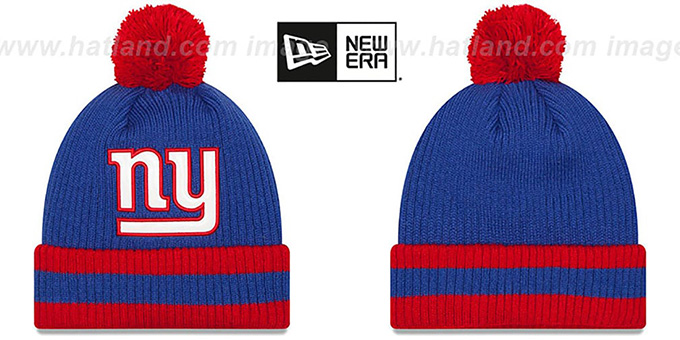 NY Giants 'CHILLER FILLER BEANIE' Royal-Red by New Era : pictured without stickers that these products are shipped with