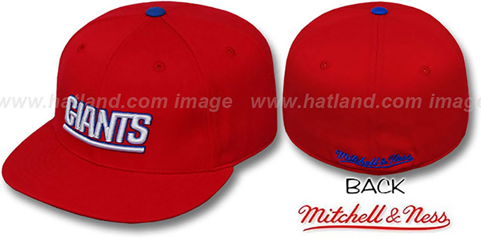 NY Giants 'CLASSIC THROWBACK' Red Fitted Hat by Mitchell & Ness : pictured without stickers that these products are shipped with