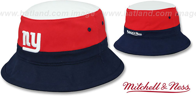 NY Giants 'COLOR-BLOCK BUCKET' White-Red-Navy Hat by Mitchell and Ness : pictured without stickers that these products are shipped with