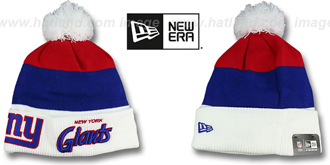 NY Giants 'CUFF-SCRIPTER' White-Royal-Red Knit Beanie Hat by New Era : pictured without stickers that these products are shipped with
