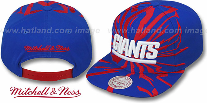 NY Giants 'EARTHQUAKE SNAPBACK' Royal Hat by Mitchell & Ness : pictured without stickers that these products are shipped with