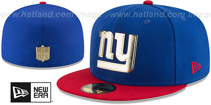 ee667e8b NY Giants 'GOLDEN-BADGE' Royal-Red Fitted Hat by ...