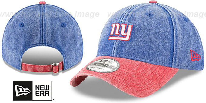 NY Giants 'GW RUGGED CANVAS STRAPBACK' Royal-Red Hat by New Era : pictured without stickers that these products are shipped with