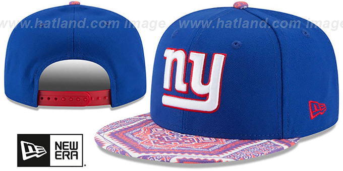 NY Giants 'KALEIDOVIZE SNAPBACK' Royal Hat by New Era : pictured without stickers that these products are shipped with