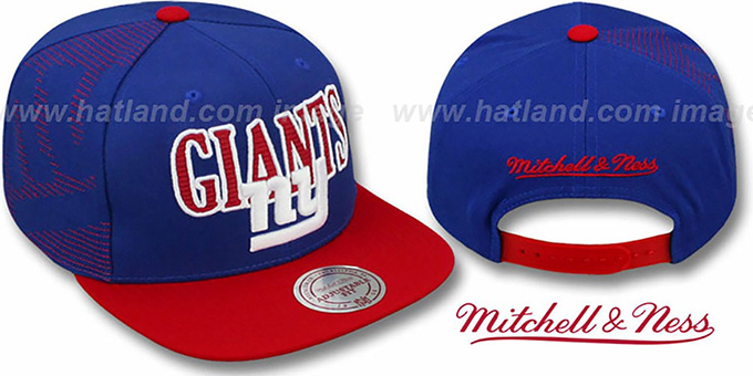 NY Giants 'LASER-STITCH SNAPBACK' Royal-Red Hat by Mitchell & Ness : pictured without stickers that these products are shipped with