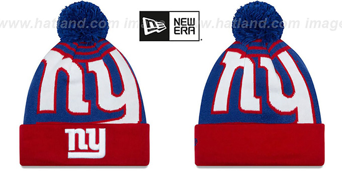 NY Giants 'LOGO WHIZ' Royal-Red Knit Beanie Hat by New Era : pictured without stickers that these products are shipped with