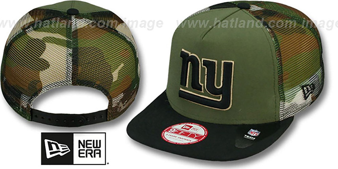 NY Giants 'MESHED CAMO SNAPBACK' Army-Black Hat by New Era : pictured without stickers that these products are shipped with