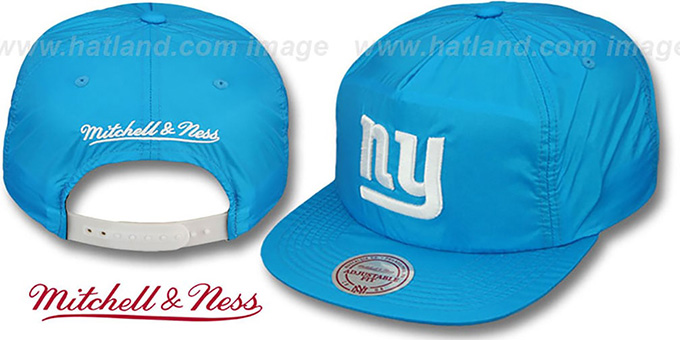NY Giants 'NEON SNAPBACK' Blue Hat by Mitchell & Ness : pictured without stickers that these products are shipped with