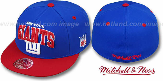NY Giants 'NFL 2T ARCH TEAM-LOGO' Royal-Red Fitted Hat by Mitchell & Ness : pictured without stickers that these products are shipped with