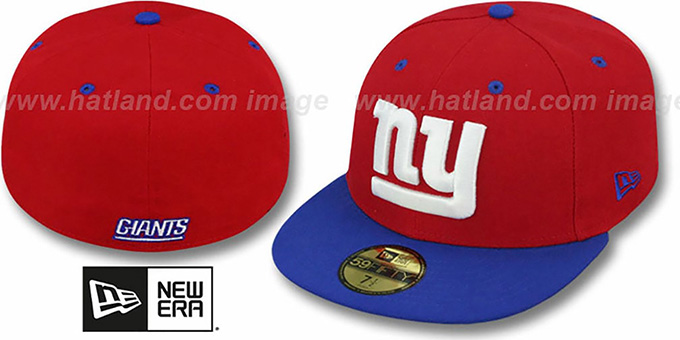 NY Giants 'NFL 2T-TEAM-BASIC' Red-Royal Fitted Hat by New Era : pictured without stickers that these products are shipped with