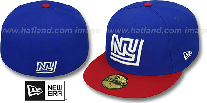 NY Giants 'NFL 2T THROWBACK TEAM-BASIC' Royal-Red Fitted Hat by New Era : pictured without stickers that these products are shipped with