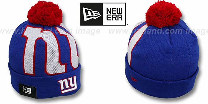 NY Giants 'NFL-BIGGIE' Royal Knit Beanie Hat by New Era : pictured without stickers that these products are shipped with
