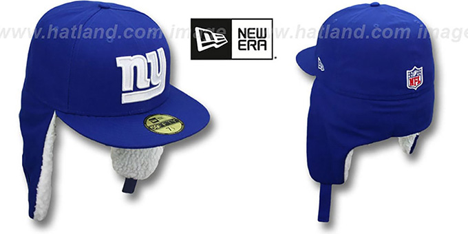 NY Giants 'NFL-DOGEAR' Royal Fitted Hat by New Era : pictured without stickers that these products are shipped with