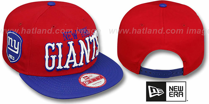 NY Giants 'NFL ENGLISH-WORD SNAPBACK' Red-Royal Hat by New Era : pictured without stickers that these products are shipped with