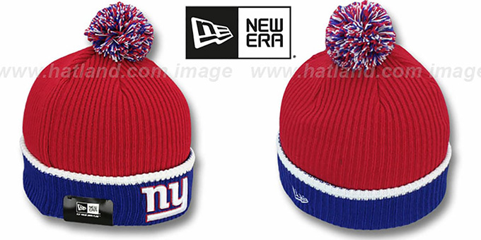 NY Giants 'NFL FIRESIDE' Red-Royal Knit Beanie Hat by New Era : pictured without stickers that these products are shipped with
