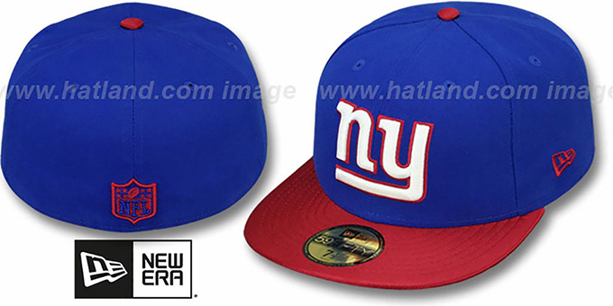 NY Giants 'NFL JERSEY-BASIC' Royal-Red Fitted Hat by New Era : pictured without stickers that these products are shipped with
