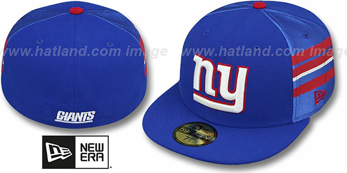 NY Giants 'NFL JERSEY-STRIPE' Royal Fitted Hat by New Era : pictured without stickers that these products are shipped with