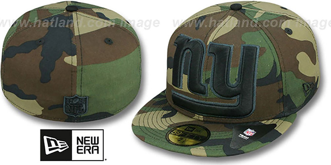 NY Giants NFL 'MIGHTY-XL' Army Camo Fitted Hat by New Era : pictured without stickers that these products are shipped with