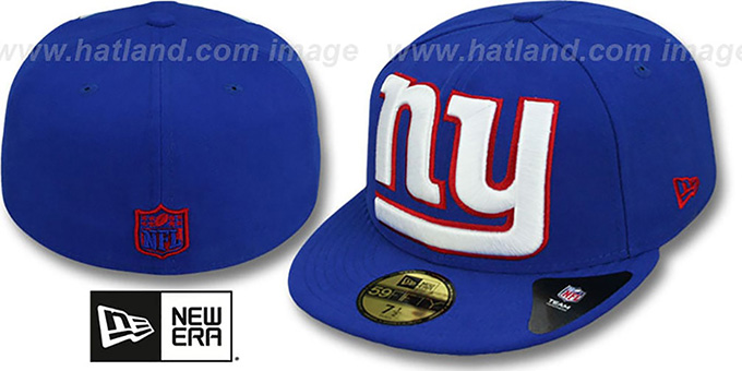 NY Giants NFL 'MIGHTY-XL' Royal Fitted Hat by New Era : pictured without stickers that these products are shipped with