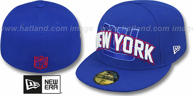 NY Giants 'NFL ONFIELD DRAFT' Royal Fitted Hat by New Era : pictured without stickers that these products are shipped with