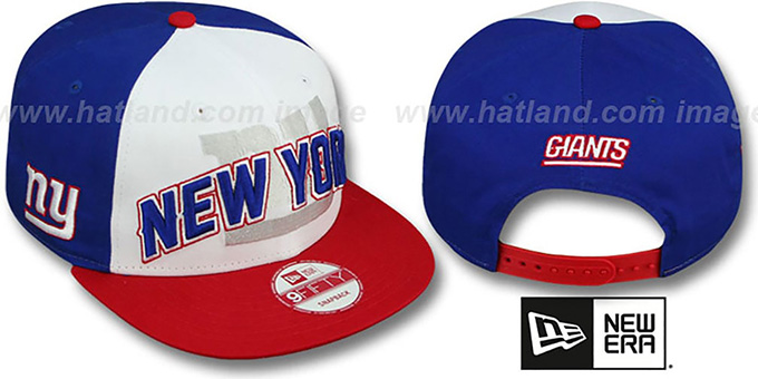 NY Giants 'NFL ONFIELD DRAFT SNAPBACK' Hat by New Era : pictured without stickers that these products are shipped with