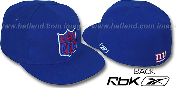 NY Giants 'NFL-SHIELD' Royal Fitted Hat by Reebok : pictured without stickers that these products are shipped with