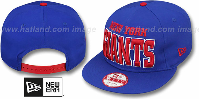 NY Giants 'NFL SOLID SNAPBACK' Royal Hat by New Era : pictured without stickers that these products are shipped with