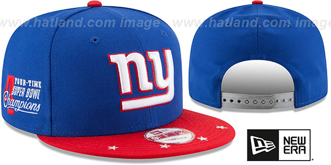 NY Giants 'NFL STAR-TRIM SNAPBACK' Royal-Red Hat by New Era : pictured without stickers that these products are shipped with