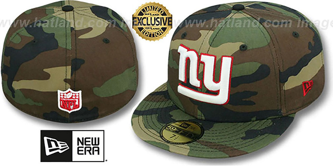 NY Giants 'NFL TEAM-BASIC' Army Camo Fitted Hat by New Era : pictured without stickers that these products are shipped with