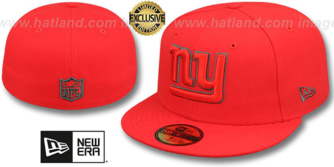 NY Giants 'NFL TEAM-BASIC' Fire Red-Charcoal Fitted Hat by New Era : pictured without stickers that these products are shipped with